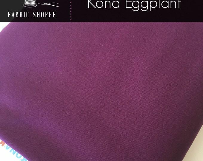 Kona cotton solid quilt fabric, Kona EGGPLANT 1133, Purple fabric, Solid fabric Yardage, Kaufman, Cotton fabric, Choose the cut