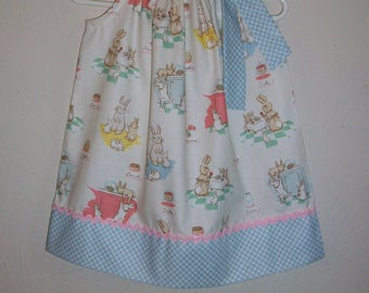 Pillowcase Dress with Bunnies & Cream Blue Gingham Easter Dress Spring Dress with Rabbits Easter Outfit Lauren Nash Penny Rose Girls Dresses