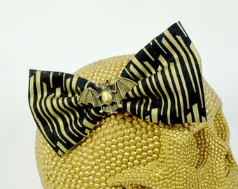 FANCY BAT - Bronze Bat Charm on black and bronze fabric Hair Bow on Alligator Clip