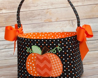 Halloween Trick or Treat bag basket fabric Applique pumpkin