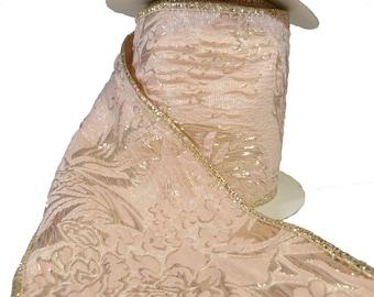 "Pale Pink & Metallic Rose Floral Matelasse Wired Ribbon  4"" Wide"