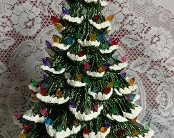 "Ceramic Christmas Tree Lighted 14"" Nowell Vintage Mold - Green Flocked - Star"