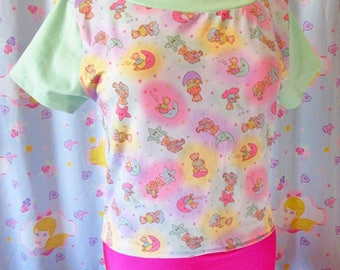 Fairy kei crop top, teddy bear moon and stars 80s fashion size S M small medium drag queen clothing