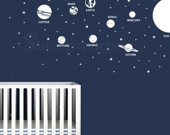Solar System Wall Decal - Planets Earth Sun Vinyl Wall Decor - Outer Space Stars Wall Art - Vinyl Wall Decal for Bedroom Nursery - K431