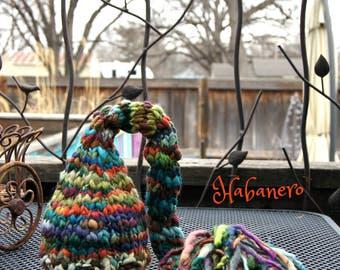 NEWBORN Photography Prop - Baby Knit Hat - Twin Props - Elf - Handdyed and Handspun yarn - PHOTO 1
