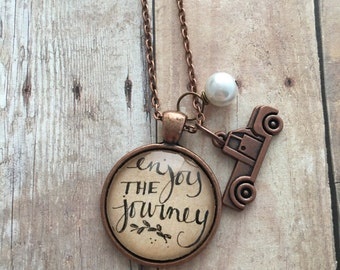 Enjoy The Journey - Hand Lettered Inspirational Quote Necklace, Glass Cabochon Necklace, Inspirational Jewelry, Ready To Ship