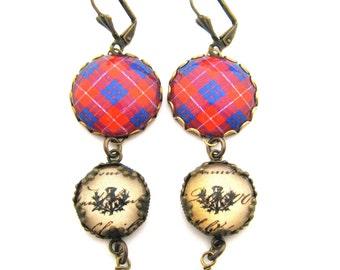 Scottish Tartan Jewelry - Ancient Romance Series - Hamilton Clan Tartan Earrings w/Thistle Charms & Mystic Black Swarovski Crystal Pearls