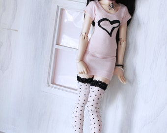 Minifee Doll msd bjd clothes Sheer black lace polka dot print thigh high socks MonstroDesigns Ready to Ship