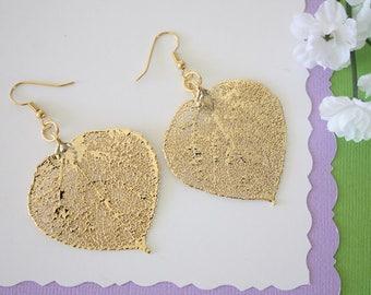 Gold Leaf Earrings, Aspen Leaf, Real Leaf Earrings, Aspen Earrings,24kt Gold, Nature, LEP26