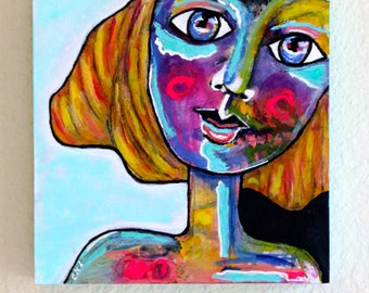 "Abstract Girl Painting Original Mixed Media Acrylic Art ""Mod Girl"" On 8 x 8 Wood Panel"