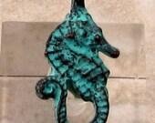 Seahorse Charm, Green Patina, Mykonos Casting, 2 Pieces, M416