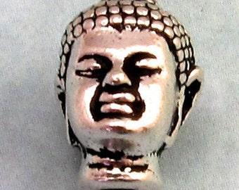 Buddha Head Bead, Antique Silver, Large Hole 2 Pc. TS26