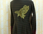 Cicada Cardigan, choose your size, in NEW gold Screech Owl print on olive stripe organic cotton
