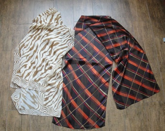 Vintage Scarves, Lot of 2 Oblongs, Both in Brown tones, 1 Animal print 62 by 22 inches, 1 Diagonal plaid 62 by 13 inches, No designer logos