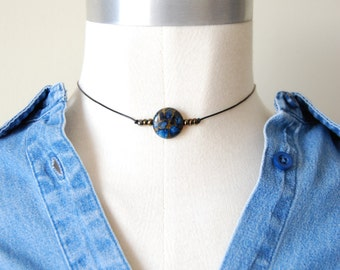 Indigo child chocker / blue goldstone chocker / minimalist / leather / necklace  / healing crystal