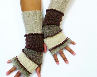 Fingerless Gloves, Armwarmers, Patchwork Gloves(Beige Ombre Mohair/Beige/Heather Brown/Dark Brown/Oatmeal) by Brenda Abdullah