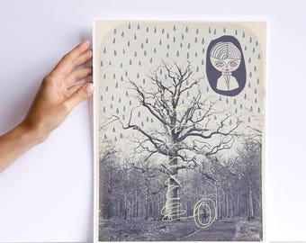 Brume 9 - print - cara carmina - Prince Mychkine - illustration - vintage photography - 10.6 x 13.8 inches - Fabriano paper