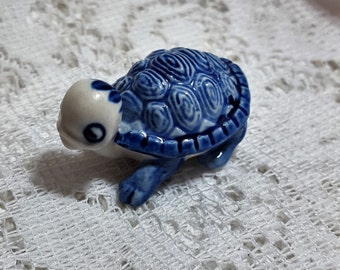 Tiny Little Blue and White Ceramic Turtle