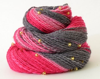 Handspun Yarn -  Spindle Spun Merino Beaded Yarn - Art Yarn- 1.75oz, 230yd, 20WPI