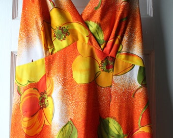 1970s Hawaiian maxi dress / 70s fruity orange sundress / Elsie Krassas Waikiki long tropical summer gown