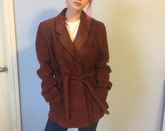 Vintage Suede Blazer Jacket - Bermans Leather Expert - Cinnamon Color