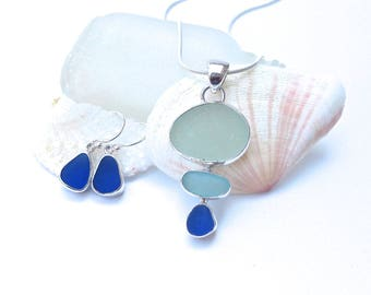 Ocean Trio Sea Glass Necklace and Earrings Set | Sea Glass Jewelry | Sea Glass Set | Necklace and Earrings Set | Seaglass Jewelry | Sterling