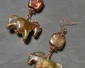 Ceramic  Earrings-Raku Artisan Ceramic Earrings-Ceramic Raku Horse Earrings-Cow Girl Earrings-Western Earrings-SRAJD
