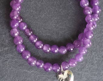 double amethyst mala bracelets with stitched heart