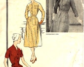 1955 Vogue Paris Original Dress with Side Bias Insets and Button Up Front Bust 32 1290