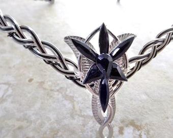 Black Gem Evenstar Circlet Celtic Weave  Crown Tiara Elven-star