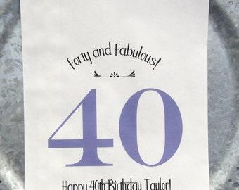 40th Birthday - 40th Birthday Favor Bags - 40th Birthday Favors  - Favor Bags - Milestone Birthday - Adult Birthday - Adult Favors
