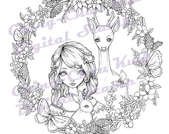 Wreath of Nature - Instant Download / Christmas Pinecone Butterfly Deer Bunny Rabit Fantasy Girl Art by Ching-Chou Kuik