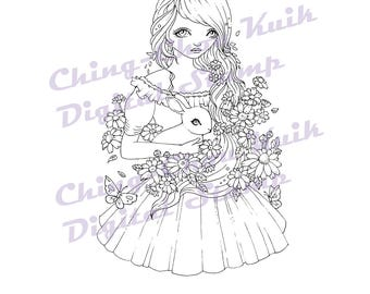 Field Of Daisies - Instant Download Digital Stamp / Spring Daisy Flower Bunny Rabbit Fantasy Fairy Girl by Ching-Chou Kuik