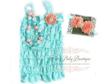 Baby Lace Romper SET, Peach and Blue Mint Aqua Petti Romper And Baby Headband, Baby Outfit, Baby Photo Prop
