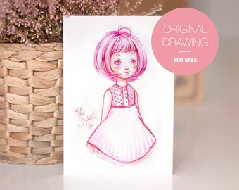 PINKY - Original Drawing - Watercolor Illustration . Unic piece