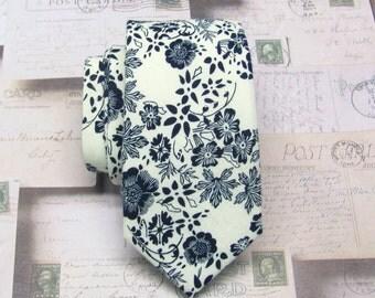 Cotton Mens Tie. Cotton Ivory Navy Blue Floral Vine Skinny Tie
