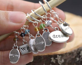 Stitch Markers Knitting Bling Inspirational Words Set of 8