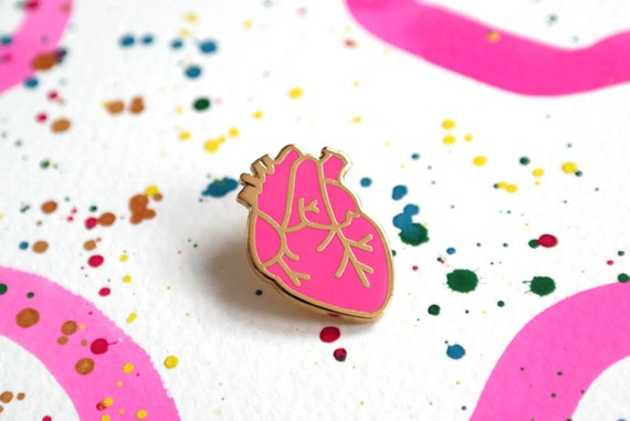 Anatomical Heart Enamel Pin, Heart Pin Badge, Pink Pins, Neon Pink Pin, Valentines Gift, RockCakes