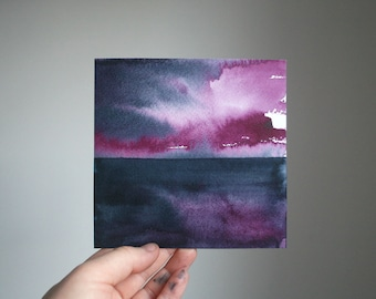 """Purple Dawn, Original Abstract Waterscape Painting, Watercolour, 5"""" X  5"""""""