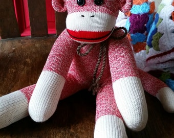 Red Sock Monkey - Traditional Red Heel with Button Eyes