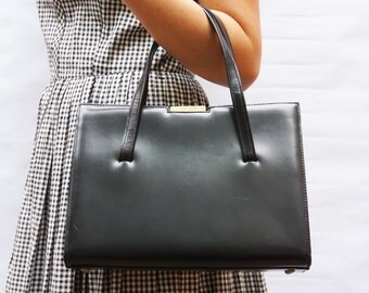 Vintage 50's/60's Black Leather Double Handle Handbag Purse by Dorman, Made in France