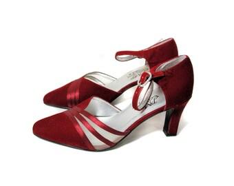 Vintage Wine Velvet Pumps 6M, Deco Velvet Shoes, Burgundy Velvet D'Orsay Pumps, 90s Doing 20s Style Great Gatsby High Heels size 6