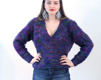 Odetta, 80s Purple Mohair Sweater M, Fuzzy Mohair Pullover, Purple Pink Green Chunky Sweater, Handknit Vintage Pullover Sweater