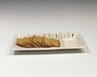 Appetizer Tray - Olive Dish - Dip and Chips Tray - Cheese Tray - Sushi Server - Black and White Tray - Dresser Valet - Trinket Tray