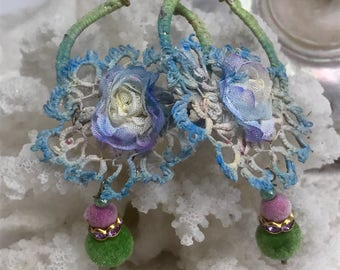 Lilygrace Silk covered Flower Hoop Earrings with Vintage Silk Lace, Rhinestones and Velvet Beads