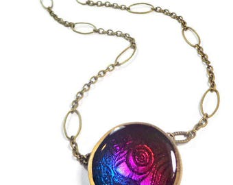Boho Statement Necklace polymer clay Pendant Purple Resin Filled Dichroic Necklace Gifts for Her Birthday Graduation