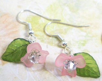 Delicate Pink Flower with Swarovski Crystal and Leaf Dangle Earrings