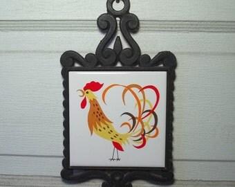 Vintage Wrought Iron Trivet Kitschy Rooster Japan Tile