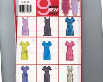 1990s Vintage Misses Sewing Pattern Butterick 6933 Misses and Petite Easy Slim Fitting Dress  Size 18 20 22 UNCUT