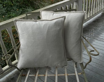 Pair Tailored Linen Pillows Custom Pillow Shams Decorative Pillows French Country Cottage Linen Pillow Covers Throw Pillows